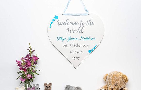 Newborn Baby Heart Sign - Blue