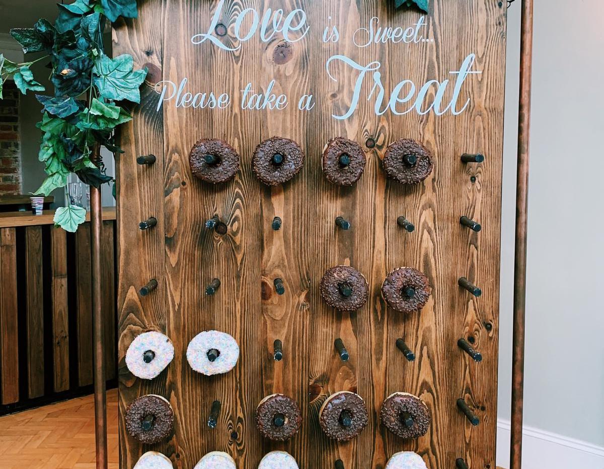 Copper framed wooden doughnut wall