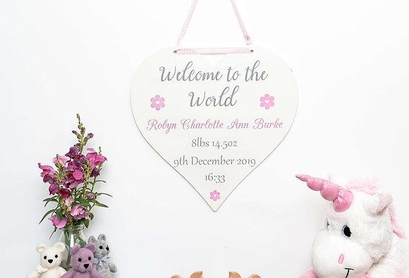 Newborn Baby Heart Sign - Pink