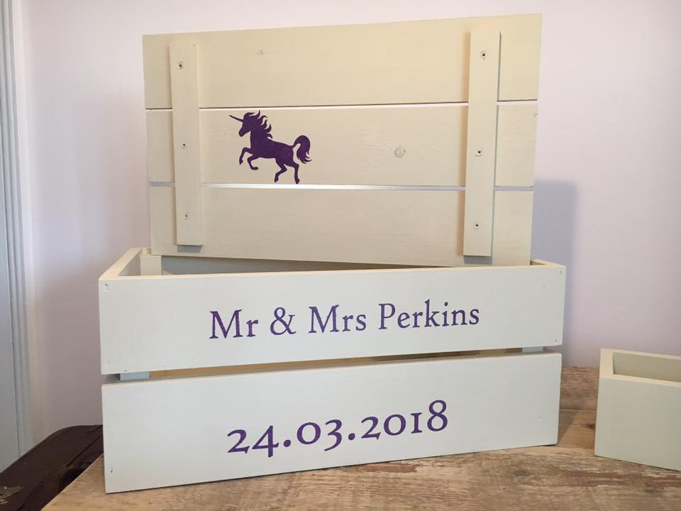 Personalised Wedding Crate with Unicorn