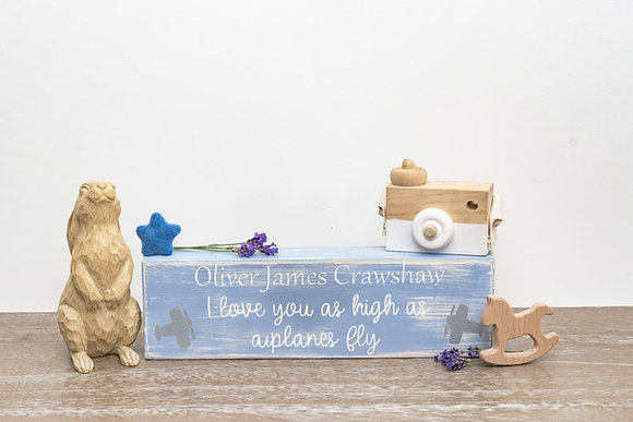 Reclaimed Wood Baby Block - Blue