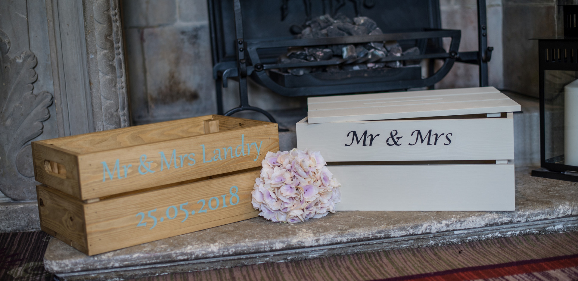 Waxed and Painted Wedding Crates