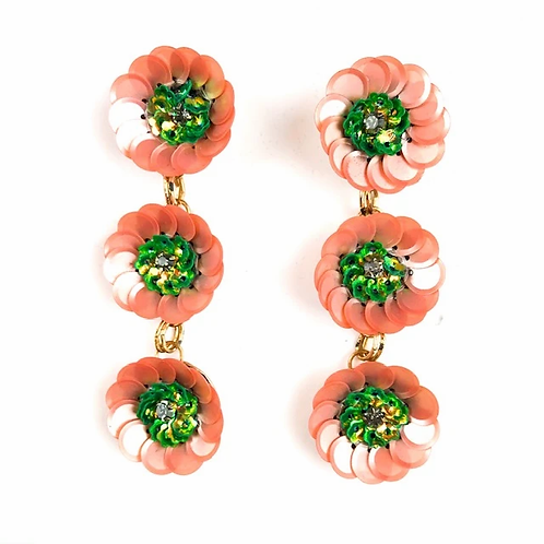 Allie Beads, Pink & Green Triple Flower Drop Earrings