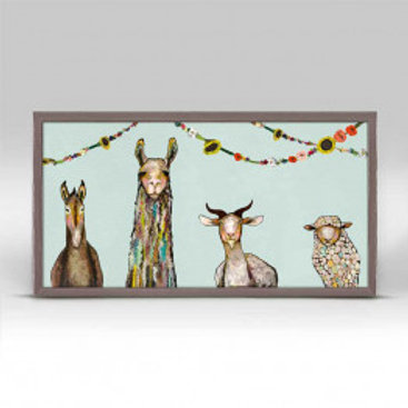 Donkey, Llama, Goat, Sheep with Garland Mini Framed Canvas