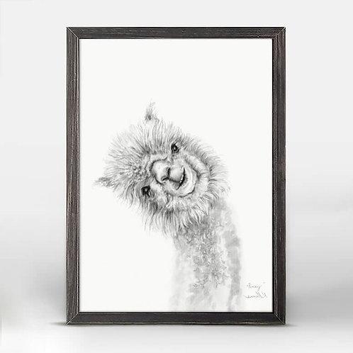 Llama Draw You a Portrait - Penny Mini Framed Canvas