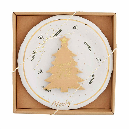 Gold Christmas Tree Cheese Plate