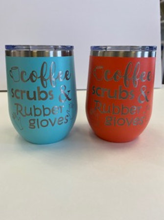 12oz Coffee Scrubs & Rubber Gloves Stemless Wine Glass
