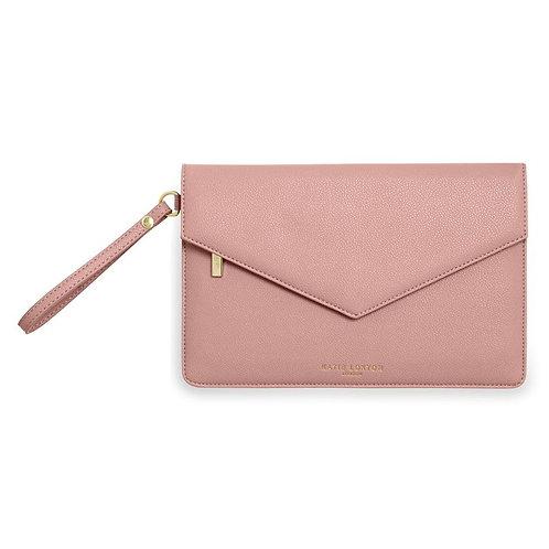 Katie Loxton, Esme Envelop Clutch Bag, Live Laugh Love Pink