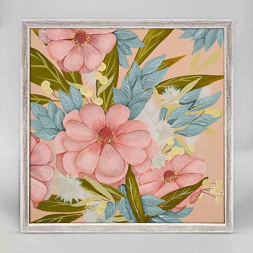 Pink Zinnia Mini Framed Canvas