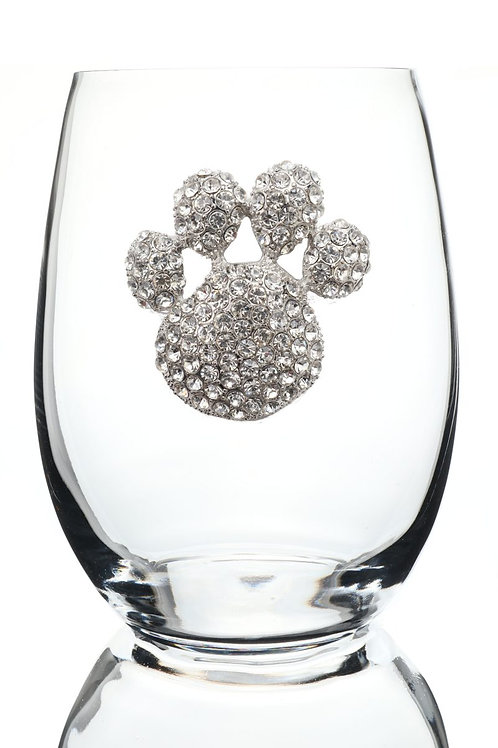Queen's Jewels, Paw Print Stemless Wine Glass