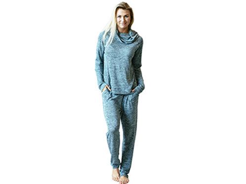 Hello Mellow Heathered Teal Cowl Neck Top