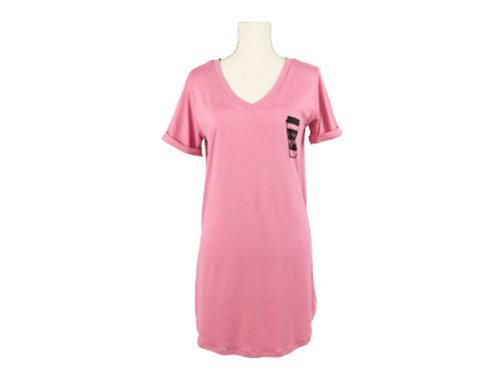 Hello Mellow Pink V-Neck Sleep Shirt