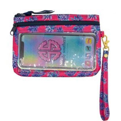 Pink and Navy Pineapple Phone Wristlet
