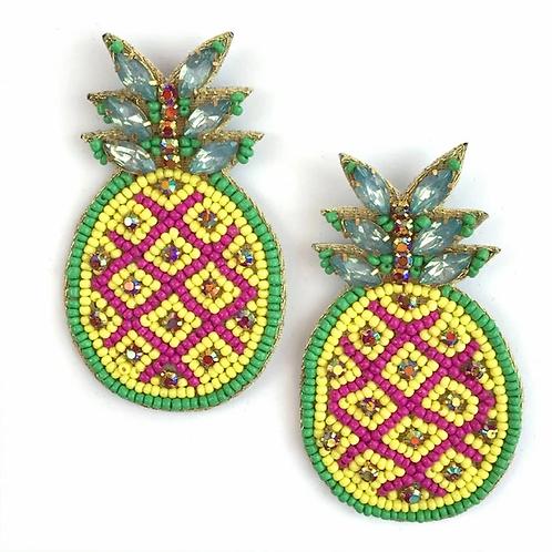 Allie Beads, Pink & Yellow Pineapple Earrings