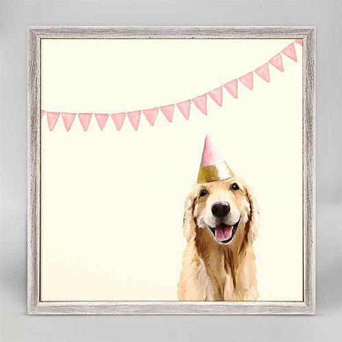 Best Friend - Party Golden Retriever Mini Framed Canvas