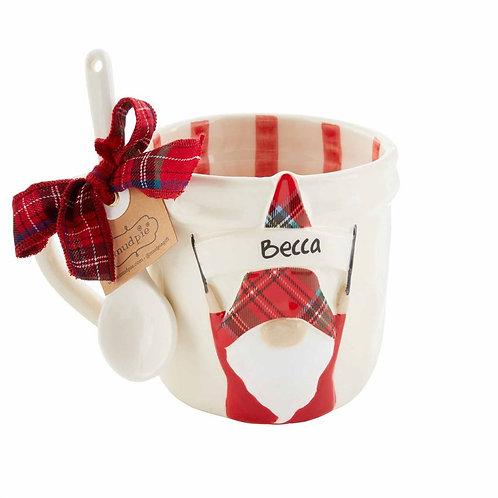 Personalized Gnome Mug Set with Stripes