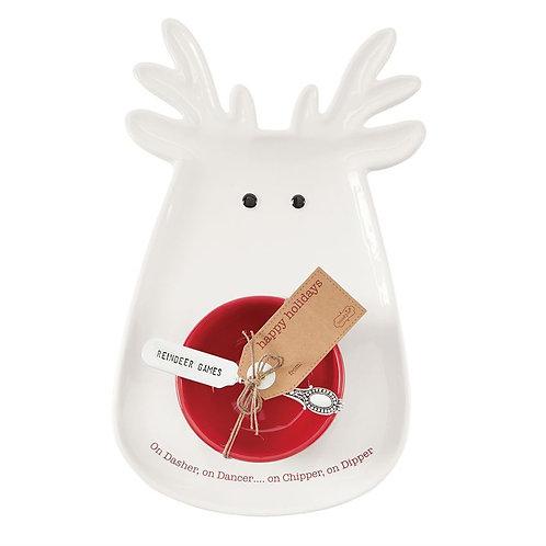 White Reindeer Chip and Dip Set