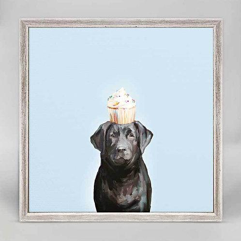 Best Friend - Party Black Lab Mini Framed Canvas