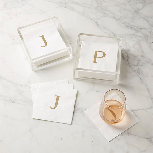 Initial Acrylic Napkin Holder Set