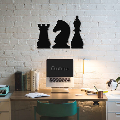 Chess Bishop, Knight and Rook - Metal Tablolar