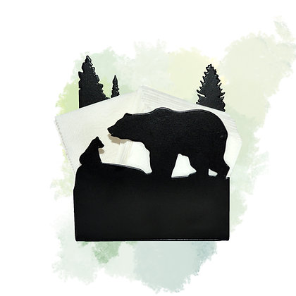 Bear and Forest - Metal Peçetelik ve Mumluk