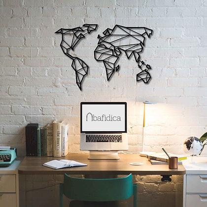 Minimal World Map - Metal Dünya Haritası