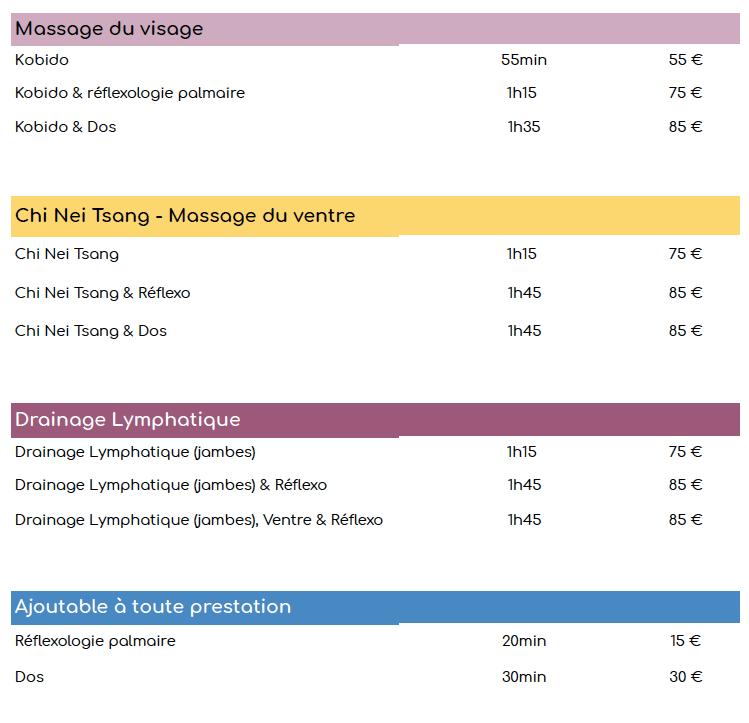 Liste prix réflexologie massages kobido chi nei tsang Oct 1_2