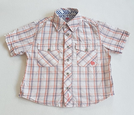 FAT FACE. Orange and beige checkered short sleeve shirt. Size 2-3 years.