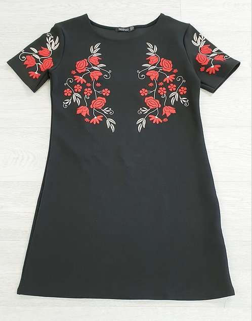 Boohoo black dress with floral detail. Size 14