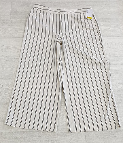 •Massimo Dutti white striped wide leg cropped trousers. Size 16 NWT