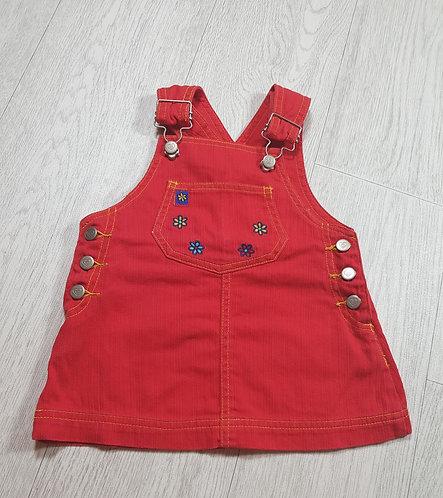 🌈Ladybird girls red floral dungarees dress size 6-9 months
