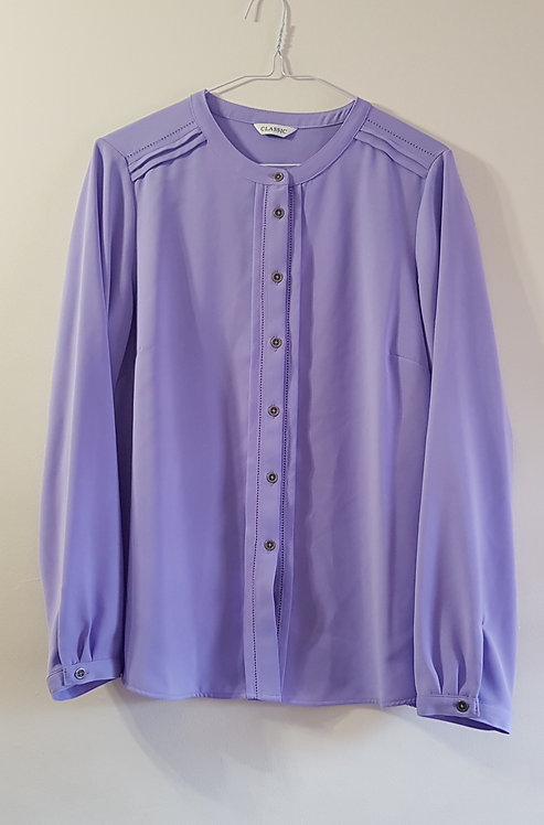 Marks and Spencer. Lavender blouse with mandarin collar. Size 14.