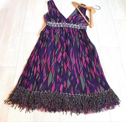 🔴Derhy v neck purple lightweight material dress size Medium