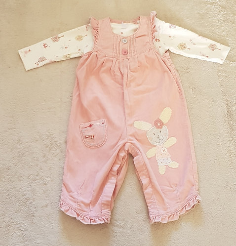 NEXT Pink chord dungarees and long sleeved vest set. 6-9 months.