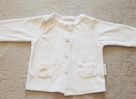BABY AZURE Velour white cardigan. 6-9m