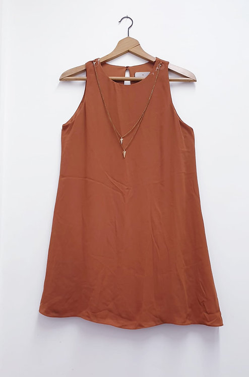 ⚘ATMOSPHERE rust chiffon blouse with necklace attachment. Size 10 NWT