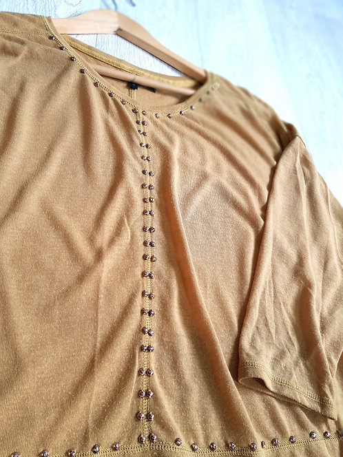🔴Next mustard three-quarter length sleeve top with gold-tone detail size 16