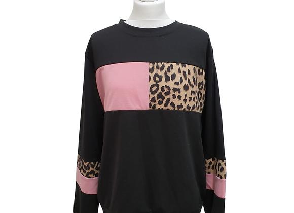 Black sweatshirt with pink/leopard print strips. Size 1XL