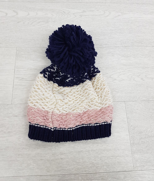 💠F&F navy cream and pink pom pom knitted hat one size
