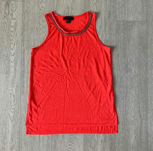🐢ATMOSPHERE bright coral top with chain neckline. Size 6
