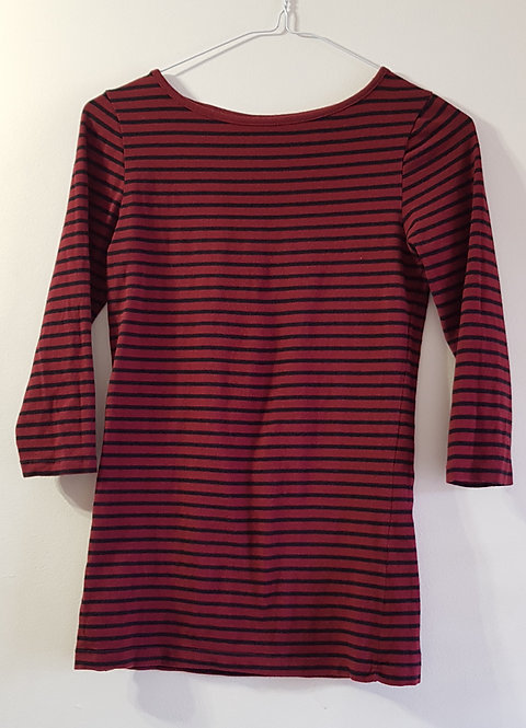ATMOSPHERE Burgundy striped top. Size 8