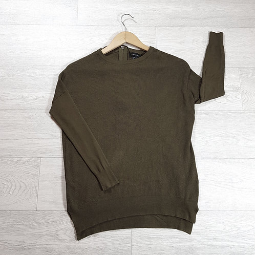 🚩Atmosphere women's khaki jumper with gold zip up back size 6 / 8