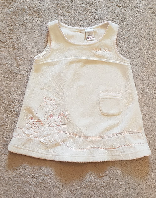 Next. Cream fleece bunny dress. 3-6 months.