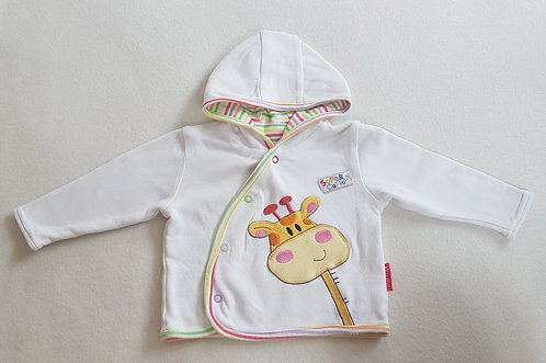 Fisher Price. White button up coat, giraffe embroidery. 3-6 months.