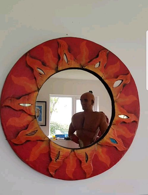 ◾Vintage Sun Papier Mache framed mirror