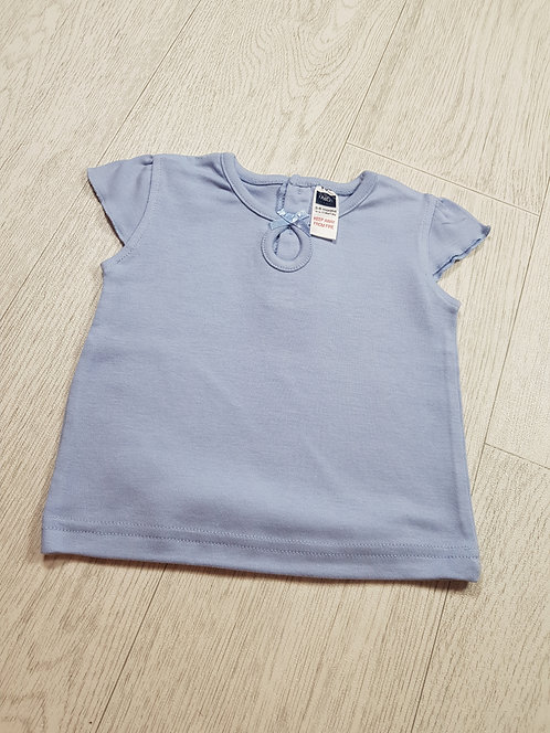 🌈M&Co baby girls blue bow t-shirt size 3 - 6 months