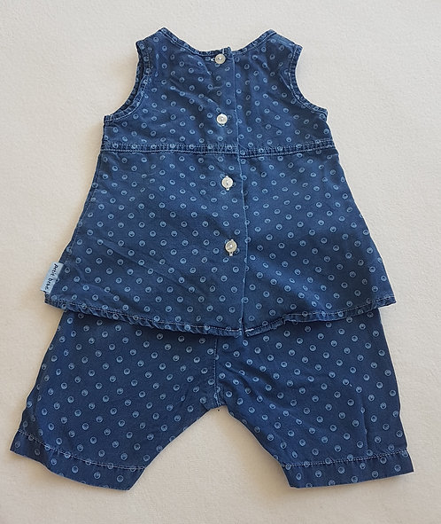M&S. Navy two piece patterned set. Button up top and pants. 3-6 months.
