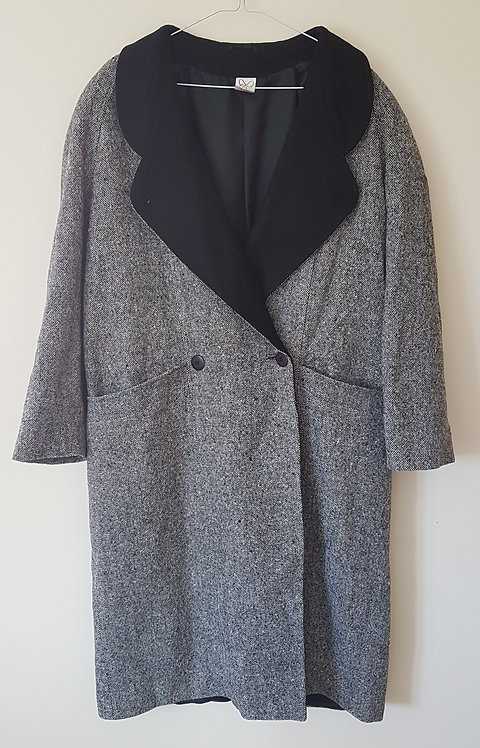 Grey coat with padded shoulders. Size 16.