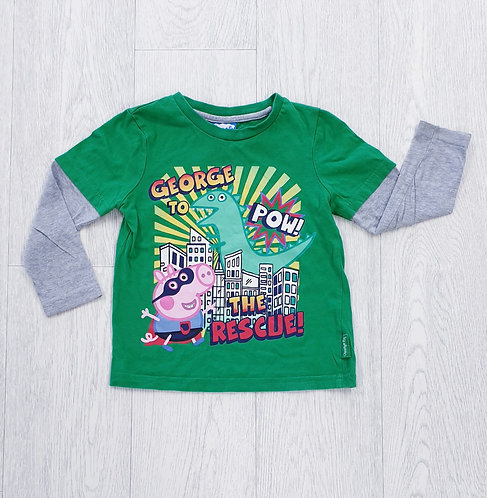 🦝Peppa Pig George green top. 2-3yrs