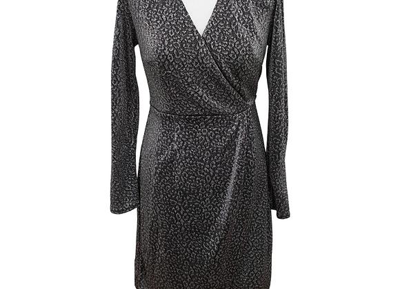 F&F black/silver mix wrap front dress. Uk 12